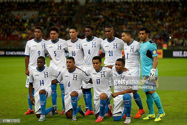Honduras's players pose for a photo before the start of a friendly football match against Brazil in preparation for Copa America Chile 2015 at...