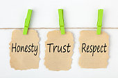 Honesty, Trust and Respect writen on old torn paper with clip hanging on white background. Business concept.