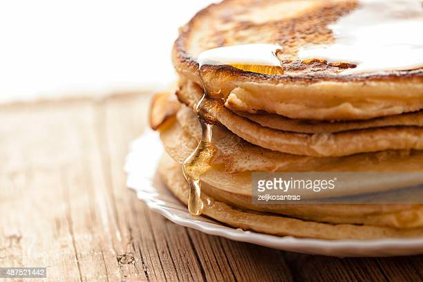 honey  and pancakes
