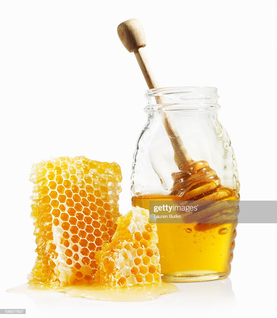 Honey Comb and Jar : Stock Photo