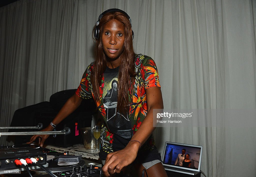 Honey Dijon spins at the amfAR Inspiration Miami Beach Party at Soho Beach House on December 6, 2012 in Miami Beach, Florida.