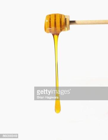 Honey falling off honey dipper