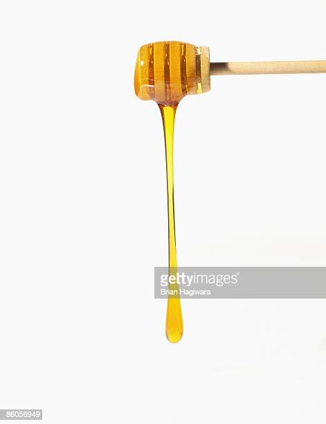 Honey falling off honey dipper