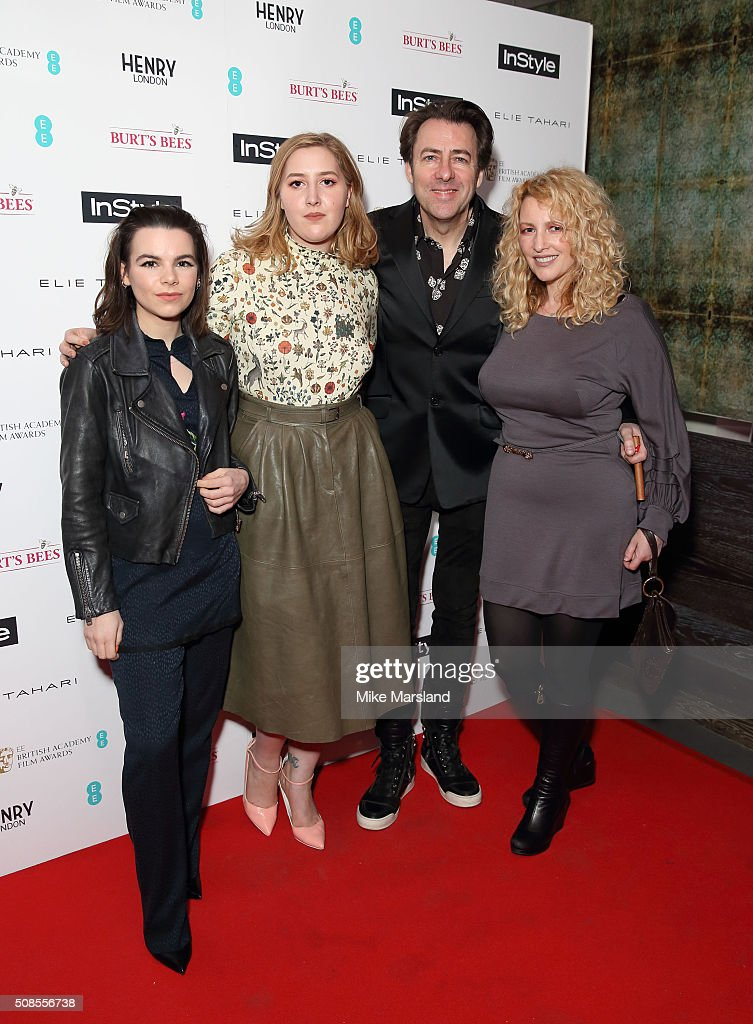 Honey Kinney Ross, Jonathan Ross and Jane Goldman attends the InStyle EE Rising Star Pre-BAFTA Party at 100 Wardour Street on February 4, 2016 in London, England.