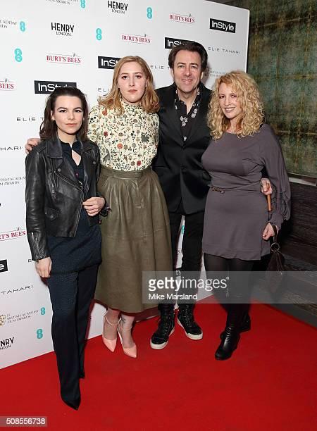 Honey Kinney Ross Jonathan Ross and Jane Goldman attends the InStyle EE Rising Star PreBAFTA Party at 100 Wardour Street on February 4 2016 in London...