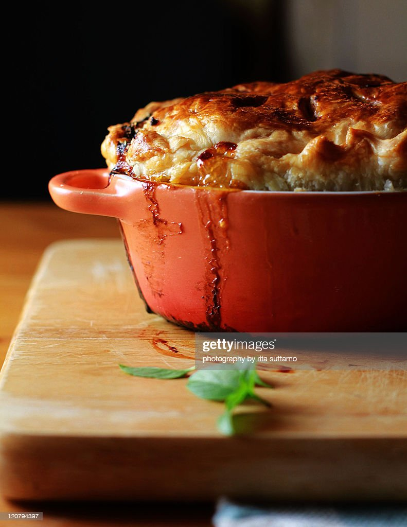 Honey lemon basil chicken pie : Stock Photo