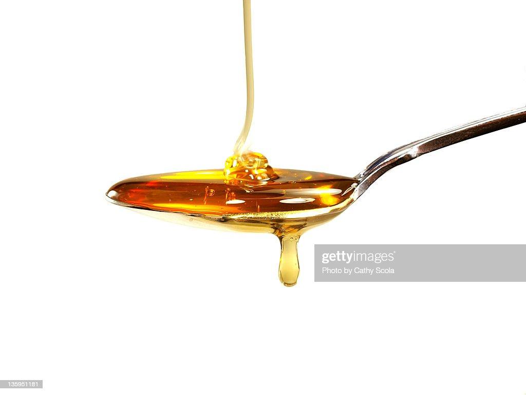 Honey on spoon