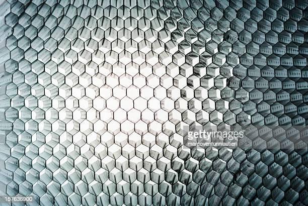 Bienenwaben-Nahaufnahme, abstrakte Textur mit Tageslicht