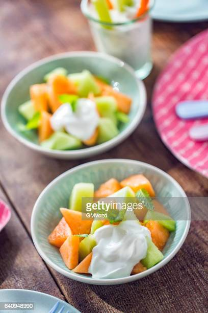 Honeydew and Cantaloupe Melon with Yogurt