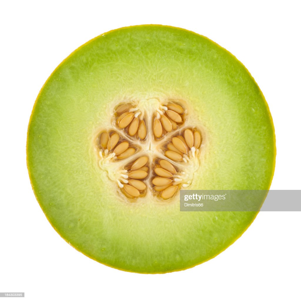 Honeydew Melon Cross Section On White