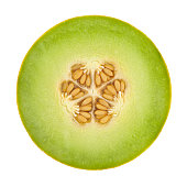 Cross Section of a honeydew melon on white background. Clipping path included.Related pictures: