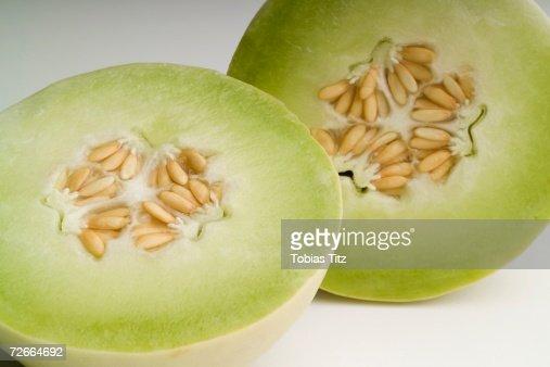 Honeydew melon cut in half