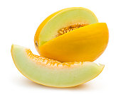 honeydew melon with a slice isolated on white background