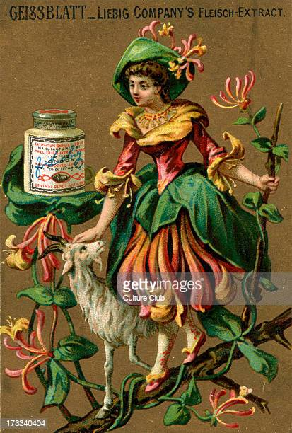 Honeysuckle personified Young lady pats a goat She is wearing a honeysuckle costume and is surrounded by flowersShe stands upon a branch Liebig card...