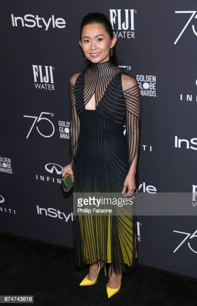 Hong Chau attends the HFPA's and InStyle's Celebration of the 2018 Golden Globe Awards Season and the Unveiling of the Golden Globe Ambassador at...