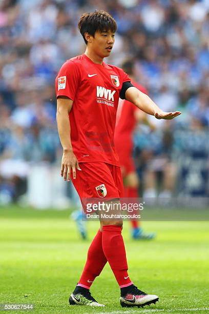 Hong Jeongho of FC Augsburg in action during the Bundesliga match between FC Schalke 04 and FC Augsburg held at VeltinsArena on May 7 2016 in...