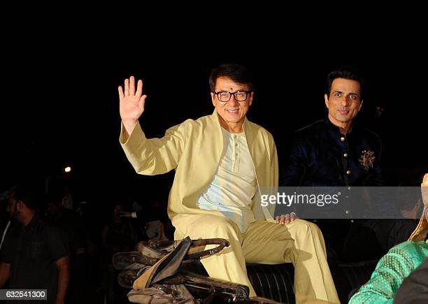 Hong Kong action movie star Jackie Chan and Bollywood actors Sonu Sood attend a promotional event for the upcoming film 'Kung Fu Yoga' in Mumbai on...
