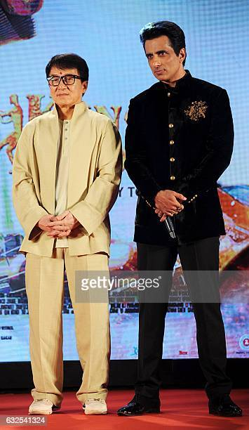 Hong Kong action movie star Jackie Chan and Indian Bollywood actor Sonu Sood attend a promotional event for the upcoming film 'Kung Fu Yoga' in...