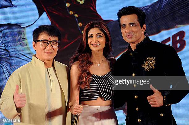 Hong Kong action movie star Jackie Chan and Indian Bollywood actors Sonu Sood and Shilpa Shetty attend a promotional event for the upcoming film...