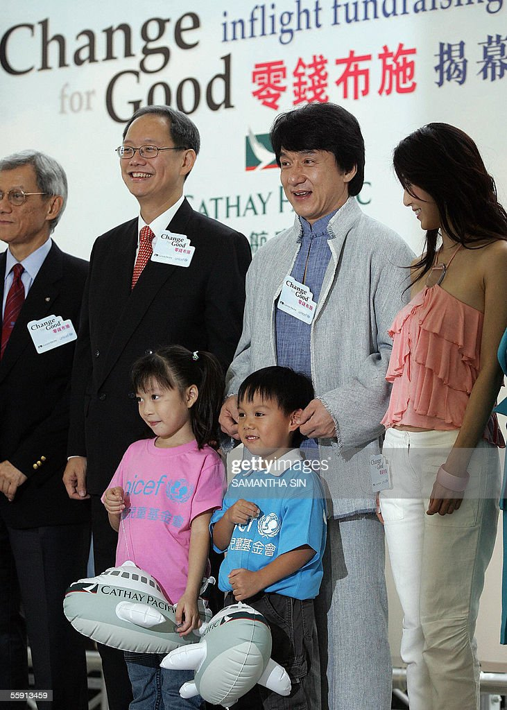 Hong Kong action star and United Nations Children Fund Goodwill ambassador Jackie Chan along with UNICEF ambassador Charlie Young and Cathay Pacific...