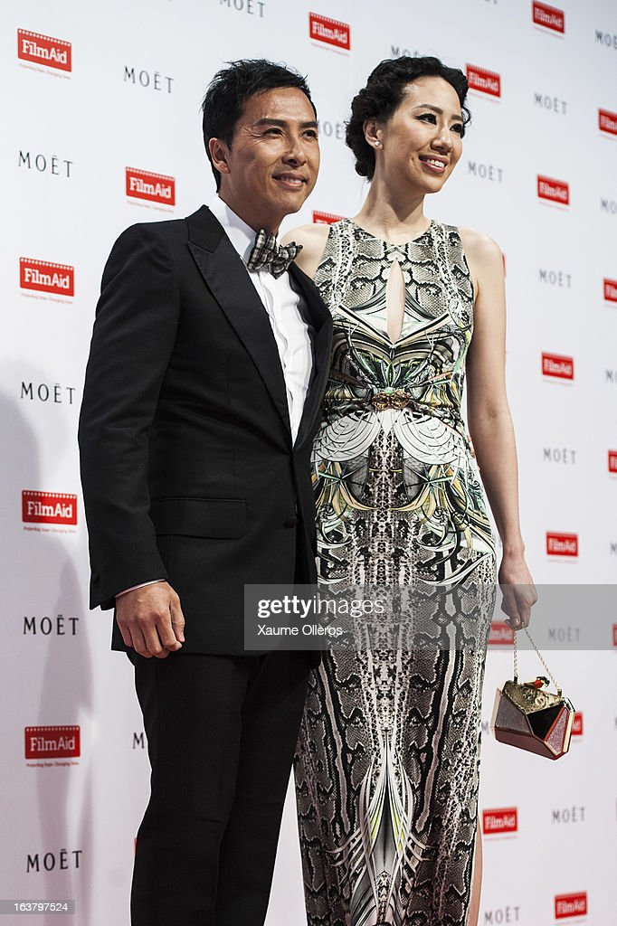 Hong Kong actor Donnie Yin and wife Cissy Wang attend at the Moet & Chandon and FilmAid Asia Power of Film Gala at Clear Water Bay Film Studios on March 16, 2013 in Hong Kong, Hong Kong.