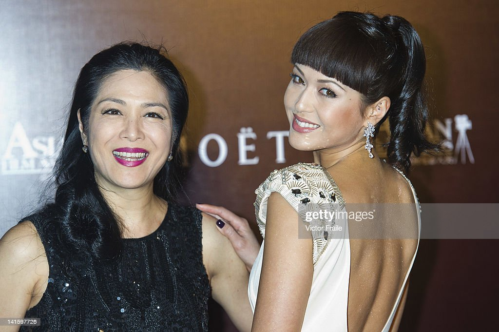 Hong Kong actress and model Ankie Beilke and her mother Ankie Lau Heung-ping pose at the red carpet during the 6th Asian Film Awards, celebrating excellence in cinema, at Hong Kong Convention and Exhibition Center on 19 March 2012 in Hong Kong, China The event honours specifically filmmakers achievements in the field of Asian cinema, bringing together the best cinematic talent in Asia.