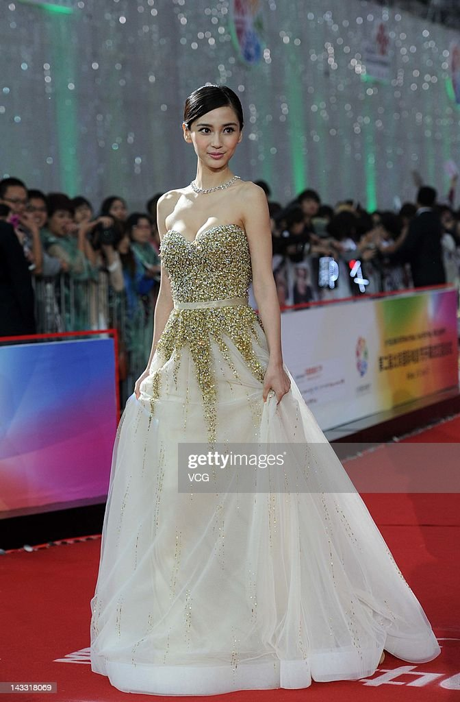 Hong Kong actress <a gi-track='captionPersonalityLinkClicked' href=/galleries/search?phrase=Angelababy&family=editorial&specificpeople=5922162 ng-click='$event.stopPropagation()'>Angelababy</a> arrives for the red carpet of 2nd Beijing International Film Festival at China National Convention Center on April 23, 2012 in Beijing, China.