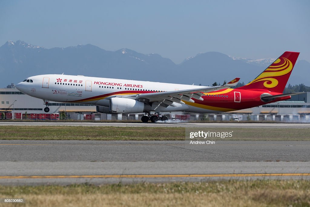 Hong Kong Airlines inaugural flight HX80 carrying actor and martial artist Jackie Chan lands at Vancouver International Airport on June 30, 2017 in Vancouver, Canada.
