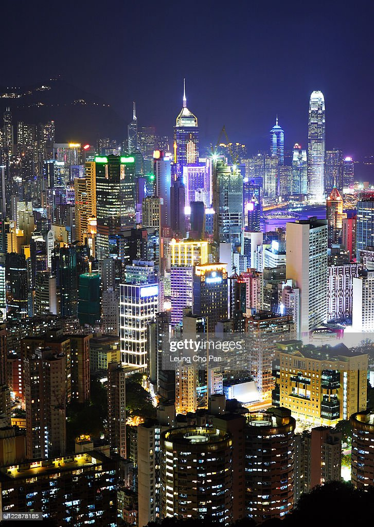 Hong Kong at night : Stock Photo