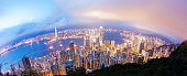 View of Victoria Harbour in Hong Kong from the Peak, fisheye view