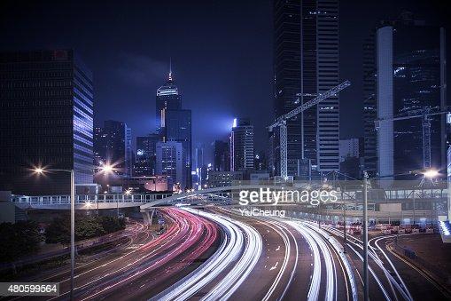 Hong Kong central district at night : Stock Photo