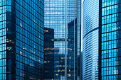 group of modern skyscrapers in hong kong central district,china,east asia.
