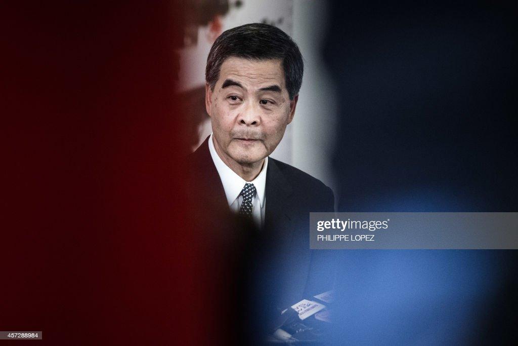 Hong Kong Chief Executive Leung Chunying answers questions during a press conference in Hong Kong on October 16 2014 Hong Kong's embattled leader...