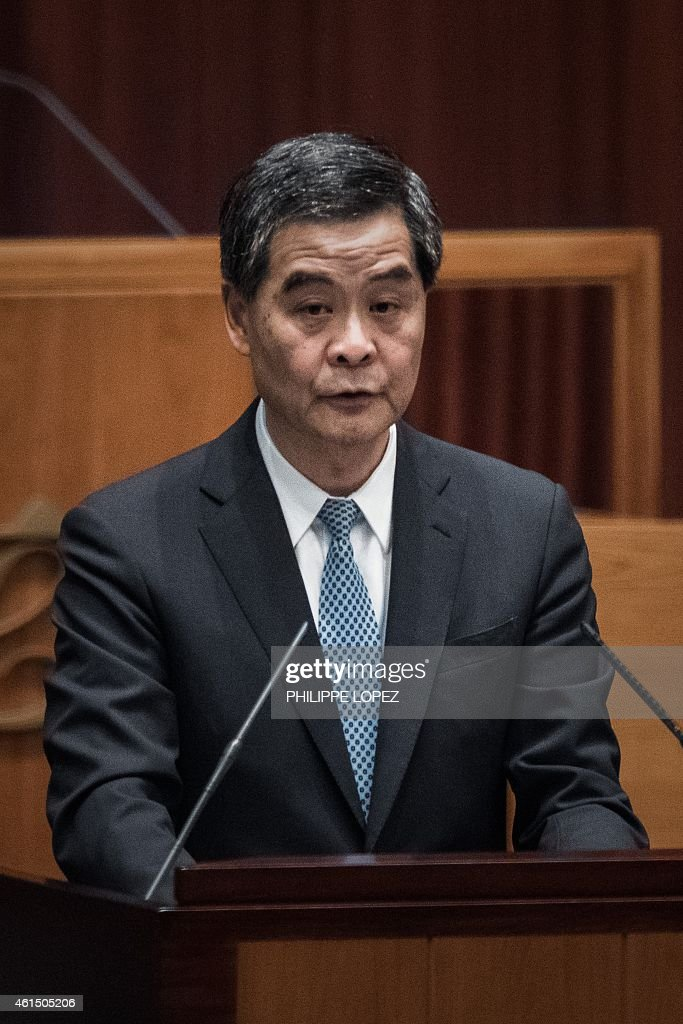 Hong Kong Chief Executive <a gi-track='captionPersonalityLinkClicked' href=/galleries/search?phrase=Leung+Chun-ying&family=editorial&specificpeople=2496883 ng-click='$event.stopPropagation()'>Leung Chun-ying</a> delivers his annual policy address at the legislative council in Hong Kong on January 14, 2015. Leung took a hard line on political reform in his annual policy address on January 14, saying the city does not have 'absolute autonomy' from China and urged support for the controversial blueprint for leadership elections. AFP PHOTO / Philippe Lopez