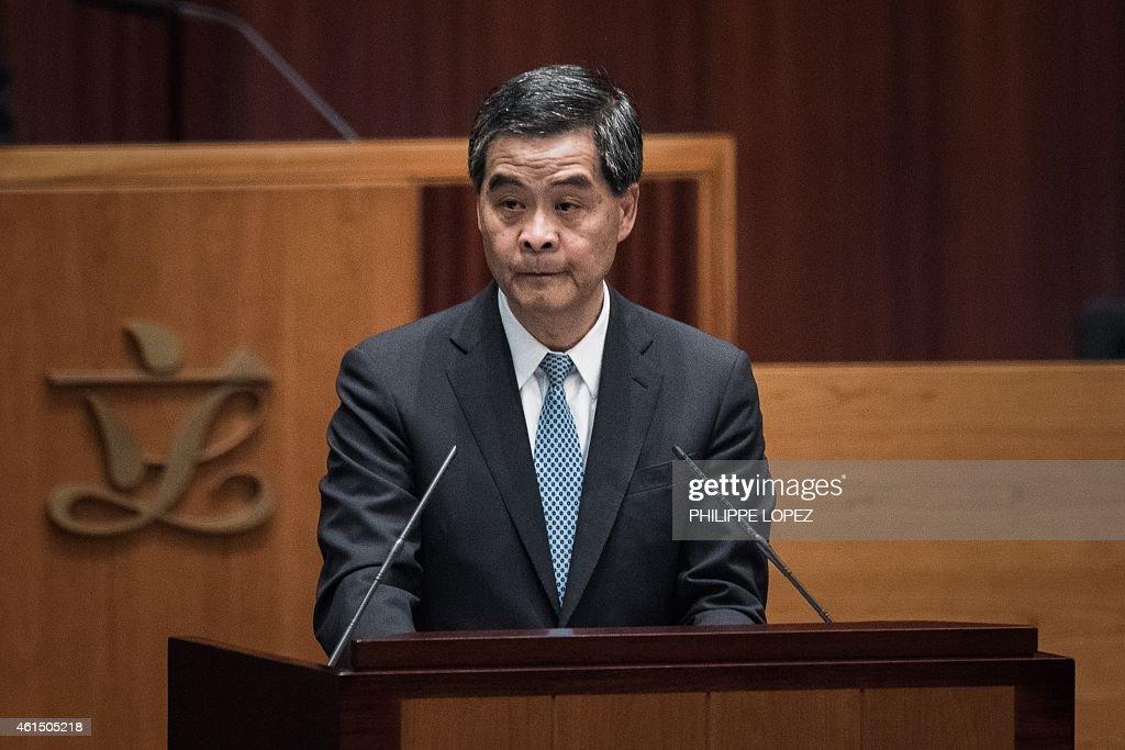 Hong Kong Chief Executive Leung Chunying delivers his annual policy address at the legislative council in Hong Kong on January 14 2015 Leung took a...