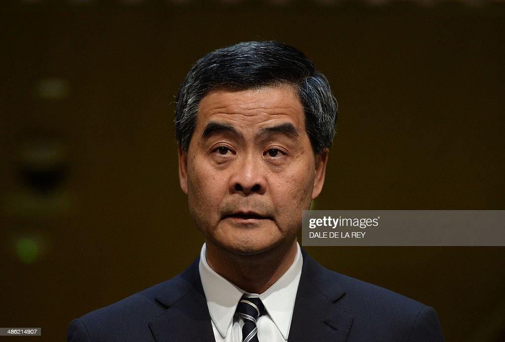 Hong Kong Chief Executive Leung Chunying speaks during a press conference in Hong Kong on April 23 2014 The Hong Kong government said on April 23 a...