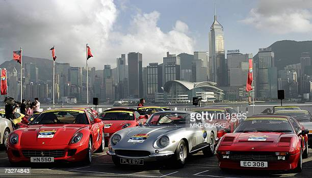 A line up of Ferrari classic cars is displayed in front of Hong Kong island 08 February 2007 More than 25 classic Ferraris were on a tour of Hong...