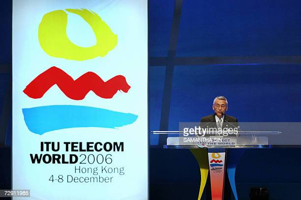 CORRECTIONCREATION DATE The ITU Secretary General Yoshio Utsumi delivers a speech during the opening ceremony of the International Telecommunication...