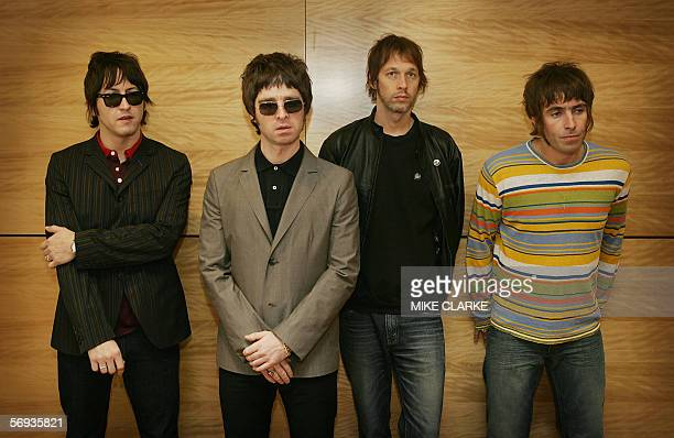 From LR Gem Noel Gallagher Andy Bell and Liam Gallagher members of the British rock band 'Oasis' hold a photocall in Hong Kong 25 February 2006 The...