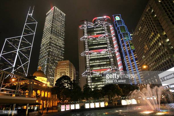 The Bank of China tower the Cheung Kong Centre former Bank of China headquarters the HSBC building and the Standard Chartered Bank building tower...