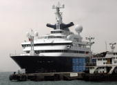 The world's largest yacht owned by Microsoft cofounder Paul Allen is anchored off Kennedy town in Hong Kong 05 May 2007 The 12618 meters Octopus...