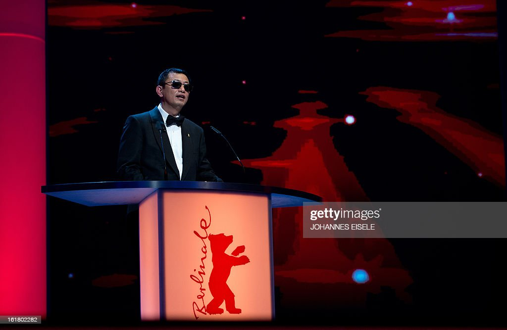 Hong Kong Chinese director Wong Kar-Wai, jury president of the 63rd Berlinale Film Festival, speaks on stage during the awards ceremony of the 63rd Berlinale Film Festival in Berlin on February 16, 2013.