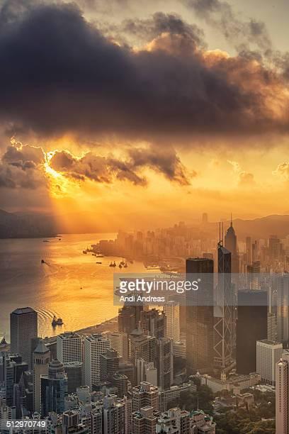 Hong kong city at sunrise