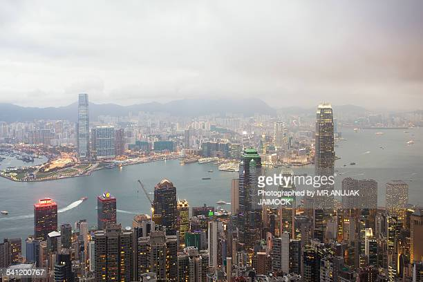 Hong Kong city in cloudy day