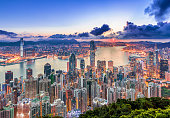 Hong Kong city view from peak at Sunrise