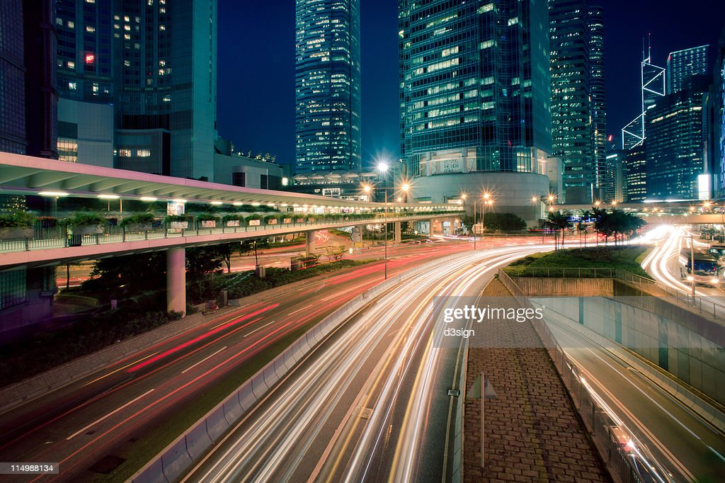 Hong Kong commercial district at night : Stock Photo