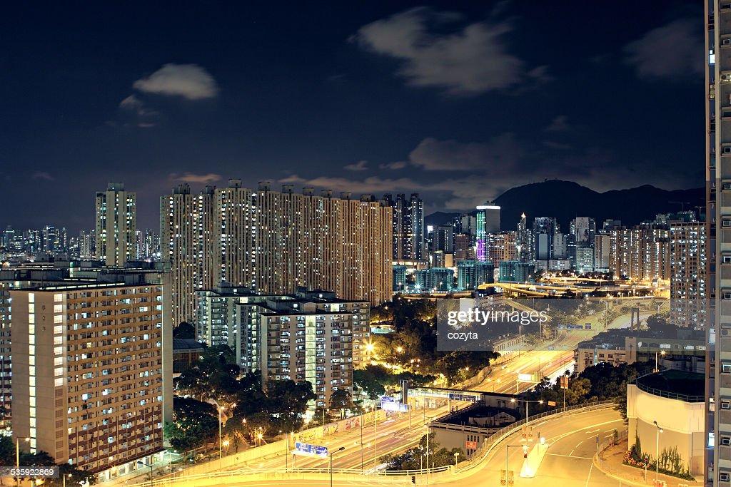 Hong Kong downtown at night : Stock Photo
