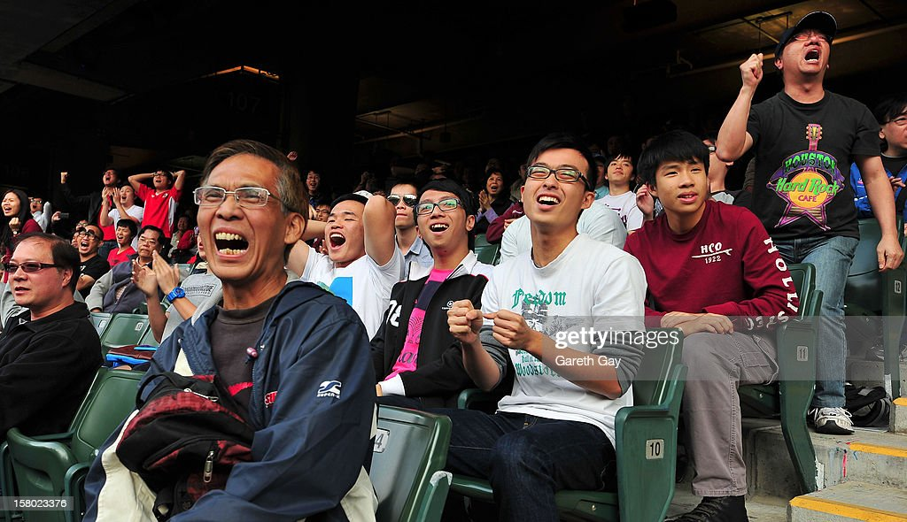 Hong Kong fans show their support during the EAFF East Asian Cup 2013 Qualifying match between Hong Kong and the DPR Korea at Hong Kong Stadium on December 9, 2012 in So Kon Po, Hong Kong.