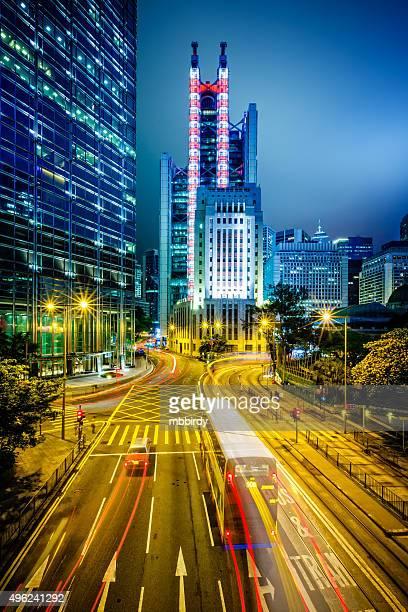 Quartier des affaires de Hong Kong au crépuscule