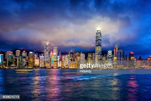 Hong Kong financial district at twilight